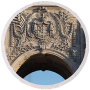 Coat Of Arms Of Portugal On Rua Augusta Arch In Lisbon Round Beach Towel