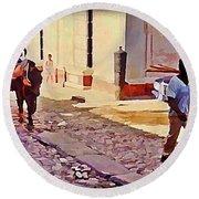 Cobble Stone Streets Of Cuba Round Beach Towel