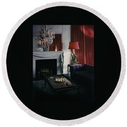 Cobina Wright's Living Room Round Beach Towel