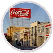 Coca Cola Billboard - San Francisco, California Usa Round Beach Towel