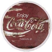 Coca Cola Faded Sign Round Beach Towel
