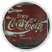 Coca Cola Green Grunge Sign Round Beach Towel