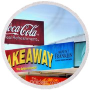 Coca-cola - Old Shop Signage Round Beach Towel by Kaye Menner