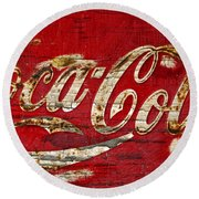Coca Cola Sign Cracked Paint Round Beach Towel
