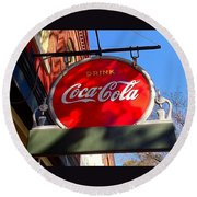 Coca Cola Sign In Georgia Round Beach Towel
