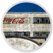 Coca Cola Sign On Old Factory Round Beach Towel