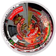 Coca Cola Signs In The Round Posterized Round Beach Towel