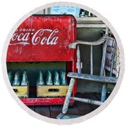 Coca Cola Vintage Cooler And Rocking Chair Round Beach Towel