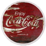 Coca Cola Wood Grunge Sign Round Beach Towel