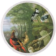 Cock Pheasant Hen Pheasant And Chicks And Other Birds In A Classical Landscape Round Beach Towel