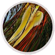 Cockatoo In Abstract Round Beach Towel