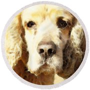 Cocker Spaniel Art - Mellow Yellow Round Beach Towel