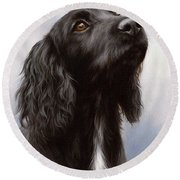 Cocker Spaniel Painting Round Beach Towel