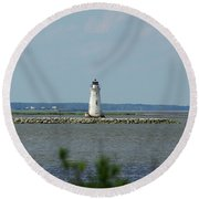Cockspur Island Light Round Beach Towel