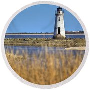 Cockspur Lighthouse In The Sanannah River Round Beach Towel