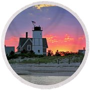 Cocktail Hour At Sandy Neck Lighthouse Round Beach Towel by Charles Harden