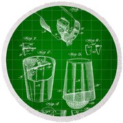 Cocktail Mixer And Strainer Patent 1902 - Green Round Beach Towel