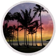 Coconut Island Sunset - Hawaii Round Beach Towel