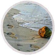 Coconut On The Sand Round Beach Towel