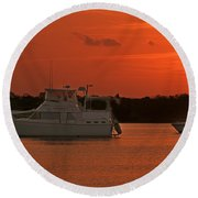 Cabin Cruiser And Red Sunset Over Harbour Round Beach Towel