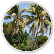Coconut Palm Trees In Key West Round Beach Towel