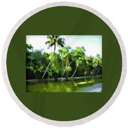 Coconut Trees And Other Plants In A Creek Round Beach Towel