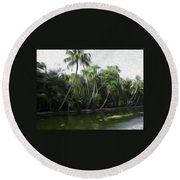 Coconut Trees And Other Plants Lined Up Round Beach Towel