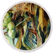 Coconuts And Palm Fronds 5-16-11 Julianne Felton Round Beach Towel