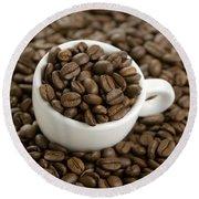 Coffe Beans And Coffee Cup Round Beach Towel