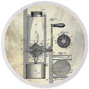 Coffee Mill Patent 1893 Round Beach Towel