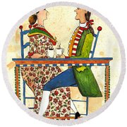Coffee And Conversation Round Beach Towel