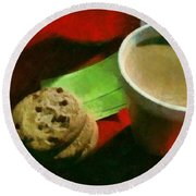 Coffee And Cookies At The Cafe Round Beach Towel