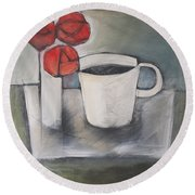 Coffee And Roses Round Beach Towel