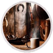 Coffee At The Cabin Round Beach Towel