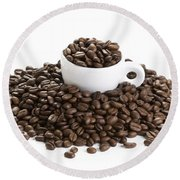 Coffee Beans And Coffee Cup Isolated On White Round Beach Towel