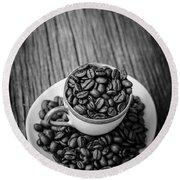 Coffee Beans Round Beach Towel