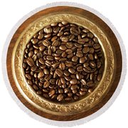 Coffee Beans On Antique Silver Platter Round Beach Towel