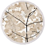Coffee Brown Leaves Melody Round Beach Towel