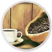 Coffee Round Beach Towel