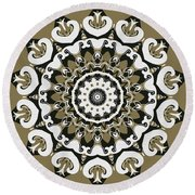 Coffee Flowers 10 Olive Ornate Medallion Round Beach Towel