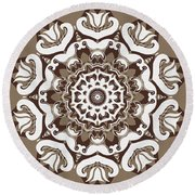 Coffee Flowers 10 Ornate Medallion Round Beach Towel by Angelina Vick