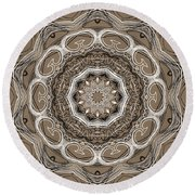 Coffee Flowers 2 Ornate Medallion Round Beach Towel