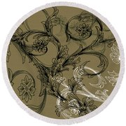 Coffee Flowers 3 Olive Round Beach Towel