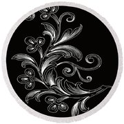 Coffee Flowers 4 Bw Round Beach Towel