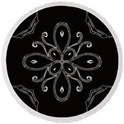 Coffee Flowers 4 Bw Ornate Medallion Round Beach Towel