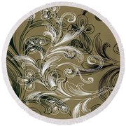 Coffee Flowers 4 Olive Round Beach Towel by Angelina Vick