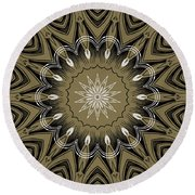 Coffee Flowers 4 Olive Ornate Medallion Round Beach Towel