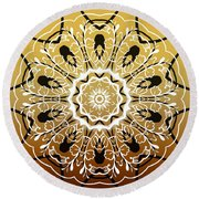 Coffee Flowers 5 Calypso Ornate Medallion Round Beach Towel