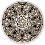 Coffee Flowers 5 Ornate Medallion Round Beach Towel