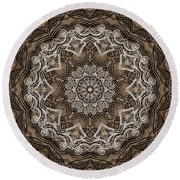 Coffee Flowers 6 Ornate Medallion Round Beach Towel